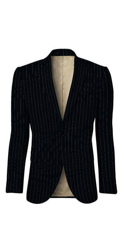Rochester Black Pinstriped Custom Jacket