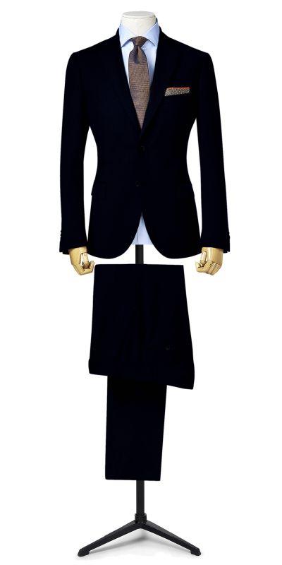 Leeds Midnight Blue Self Checked Bespoke Suit