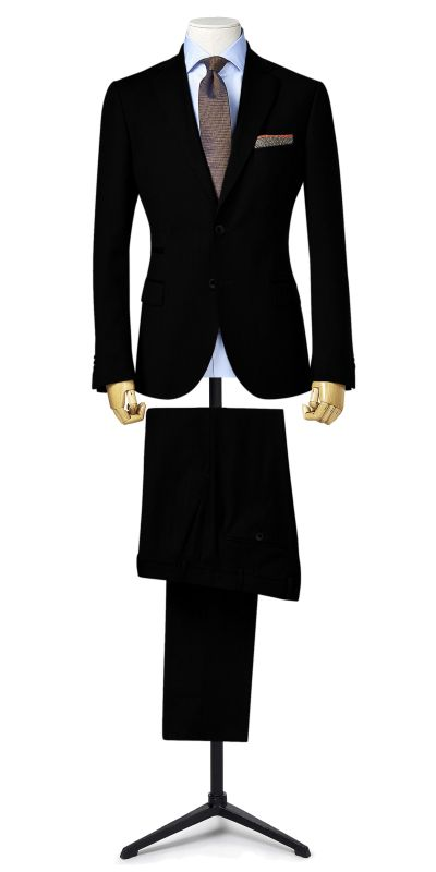 Dover Black Self Checked Customised Suit