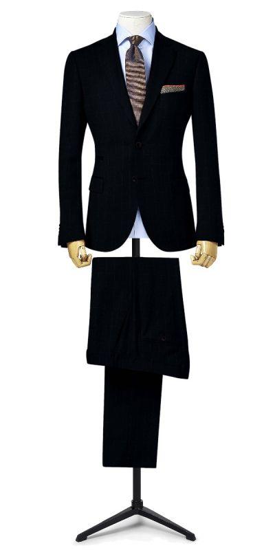 Richmond Navy Blue Wild Ginger Windowpane Custom Pants