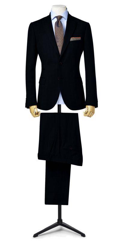 Richmond Navy Blue Wild Ginger Windowpane Custom Suit