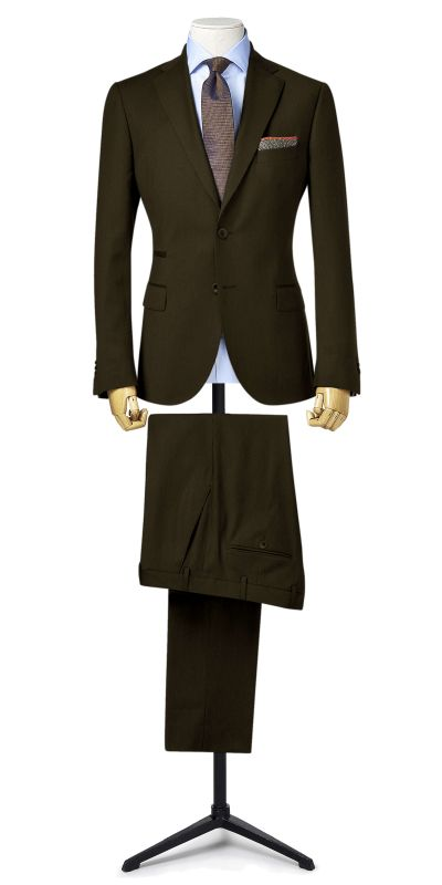 Moncler Dull Brownish Gold BirdsEye Custom Suit