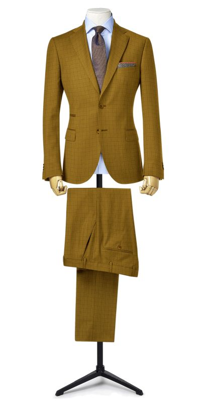 Cardiff Checkered Golden Cream Tweed Custom Suit
