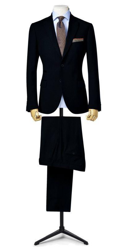 Lancaster Mist Blue Tweed Custom Suit