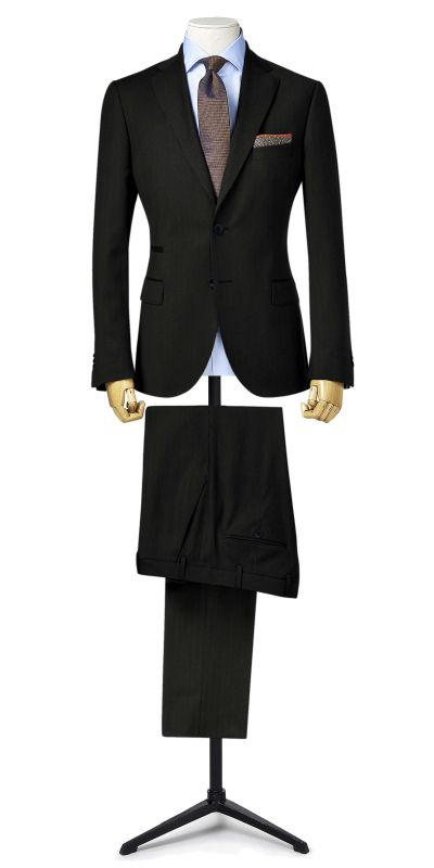 Bamburgh Black HerringboneTweed Custom Suit