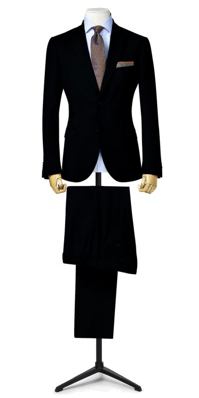 Malbork Sateen Black Custom Suit