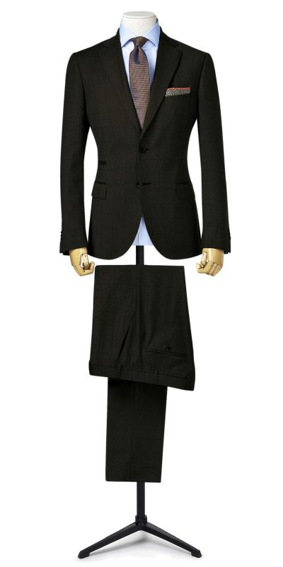 Ludlow Black Grey Plaid Custom Suit