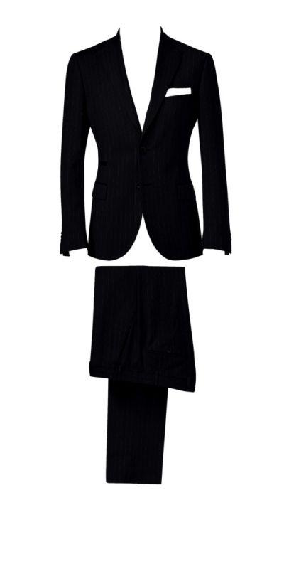 Durham Black Broad Pinstriped Custom Pants