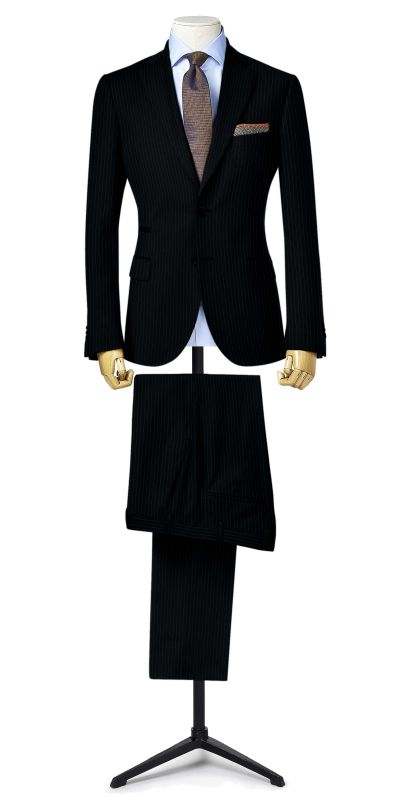 Rochester Black Pinstriped Custom Suit