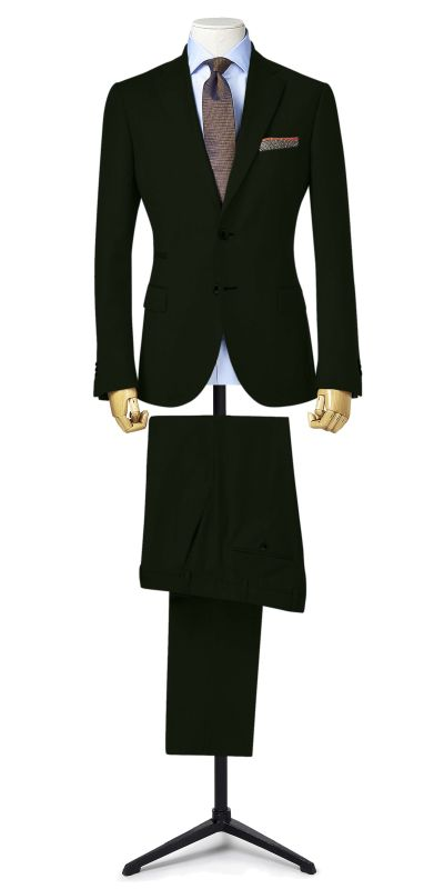 Prudhoe Olive Green Matty Weave Custom Suit