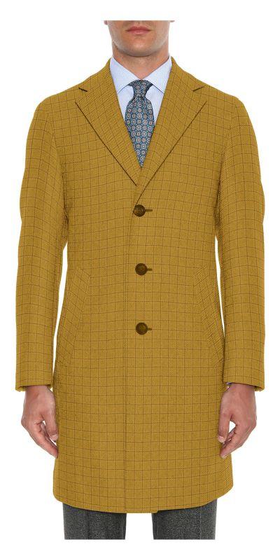 Cardiff Checkered Golden Cream Tweed Custom Overcoat