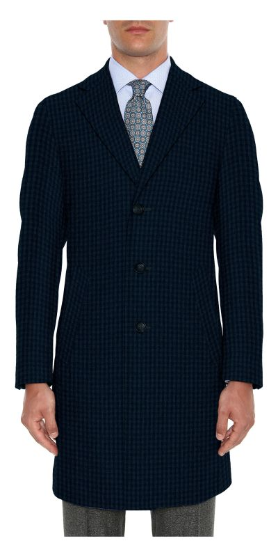 Lancaster Mist Blue Tweed Custom Overcoat