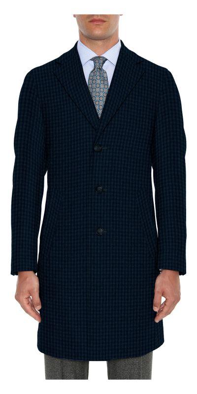 Lancaster Mist Blue Tweed Custom Overcoat