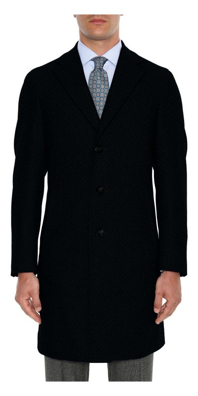 Amboise Melange Black Tweed Custom Overcoat