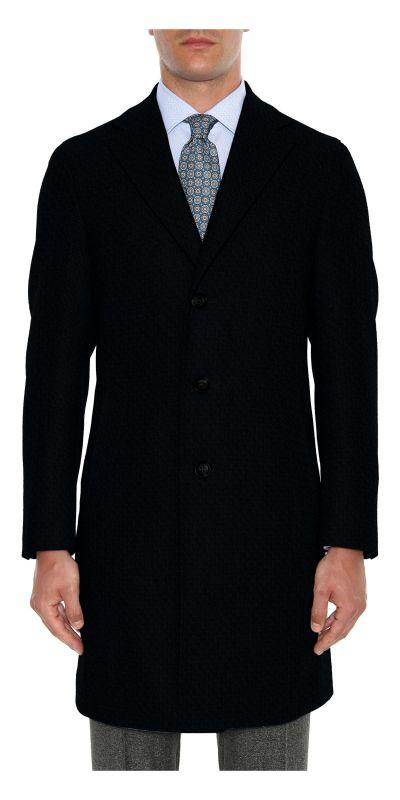 Amboise Melange Black Tweed Custom Overcoat