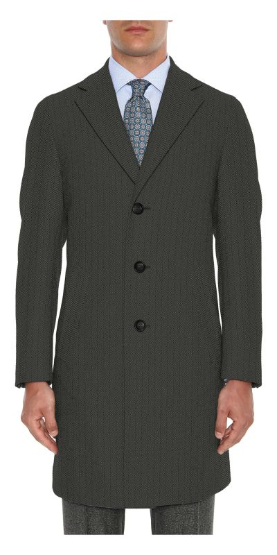 Bamburgh Black Herringbone Tweed Custom Overcoat