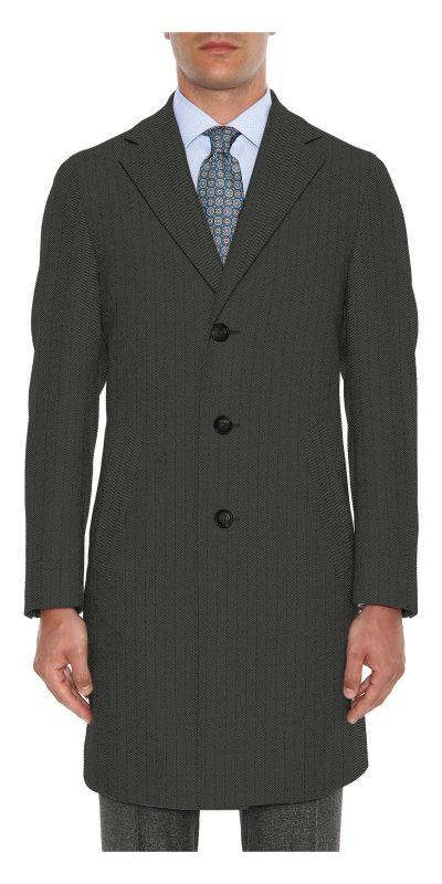 Bamburgh Black Herringbone Tweed Custom Overcoat