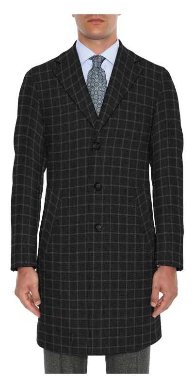 Belmonte Ash Grey Checkered Tweed Custom Overcoat