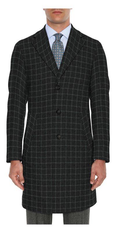 Belmonte Ash Grey Checkered Tweed Custom Overcoat